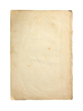 Oud papier op een witte achtergrond. Stockfoto