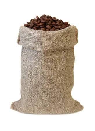 sackful: Bag with coffee isolated on a white background.