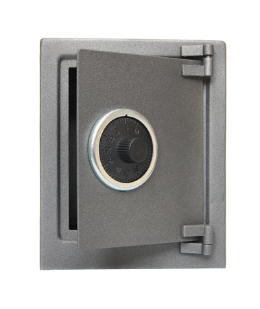 The metal safe on a white background. Stock Photo