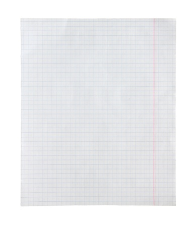 The page from a notebook isolated on a white background. photo