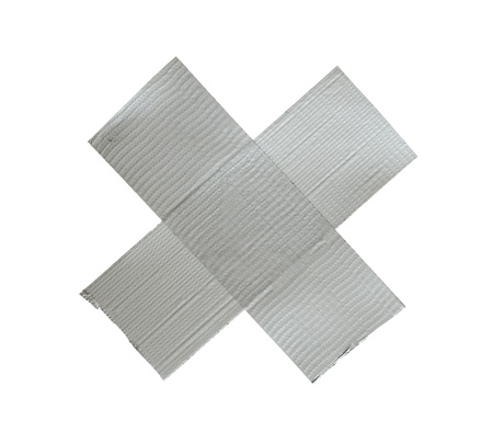 gaffer: Cross from a sticky tape on a white background.