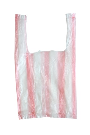 Striped plastic bag isolated on white background.