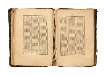logarithmic: The old open book with logarithmic tables.