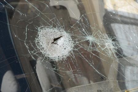 Het gebroken glas van de auto te dichten. Stockfoto