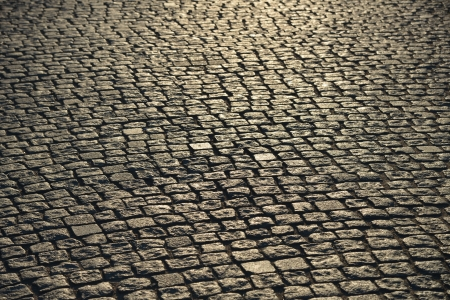 Abstract background of cobblestone pavement.