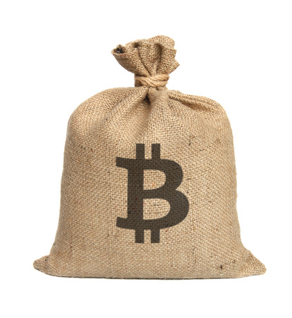 flaxen: Bag from bitcoin isolated on a white background. Stock Photo