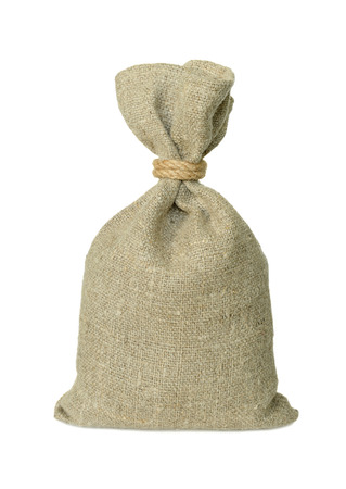 sack cloth: Bag from a sacking isolated on a white background. Stock Photo