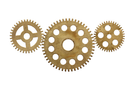 sprocket: Gears from a clockwork on a white background.