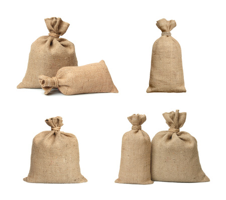 money bag: Bags from a sacking isolated on a white background. Stock Photo