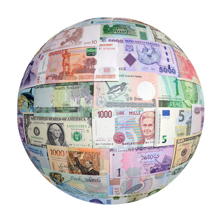 us paper currency: Money of the different countries isolated on a white background. Stock Photo