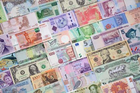 Achtergrond van papieren geld van de verschillende landen. Stockfoto