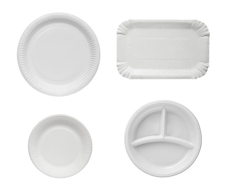 disposable: Set disposable plates isolated on a white background.