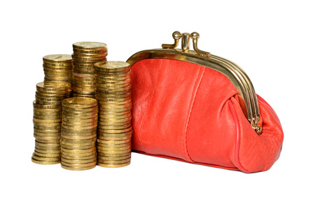 change purses: Full red and coins wallet on a white background.