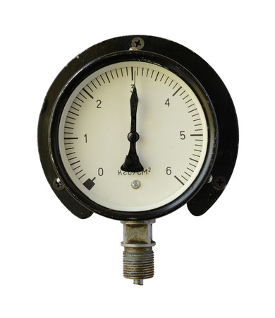 measuring instrument: Pressure measuring instrument isolated on a white background.