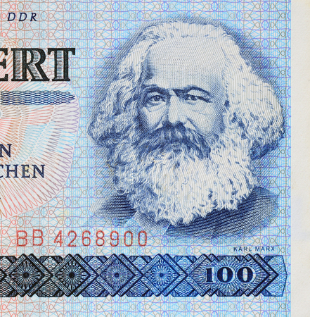 political economist: Karl Marx on a banknote of German Democratic Republic. Stock Photo