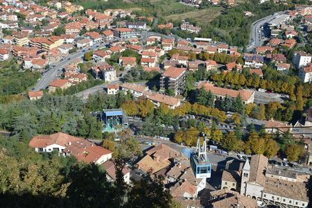 Republic of San Marino. The top view on the city of Borgo Maggiore from Monte Titano mountain. Stock Photo
