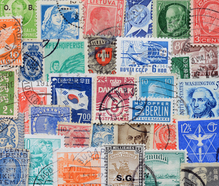 Background of stamps mail of the different countries.