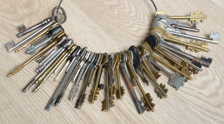 House keys collection on table