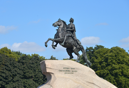 peter the great: RUSSIA, SAINT- PETERSBURG- JULY ?28, ?2013: Peter I the Great monument against blue sky.