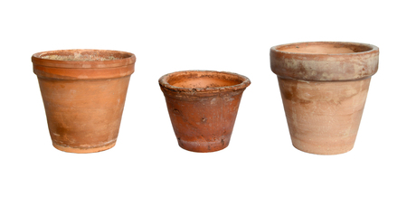 Old plant pots on a white background. Stock Photo