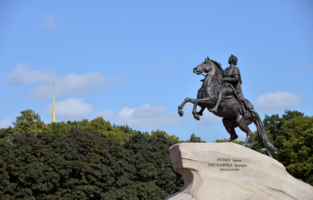 RUSSIA, SAINT- PETERSBURG- JULY ?28, ?2013: Peter I the Great monument against blue sky.
