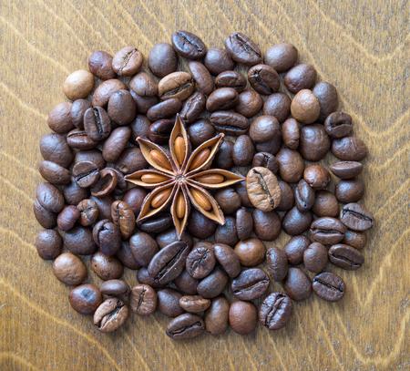 badiane: Anisetree and coffee beans close up Stock Photo