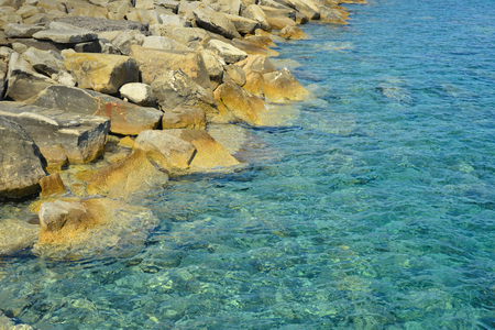limassol: Beautiful rocky seashore background. Limassol in Cyprus.