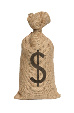 moneybag: Bag from dollars isolated on a white background.