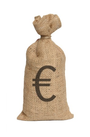Money bag from Euro isolated on a white background.