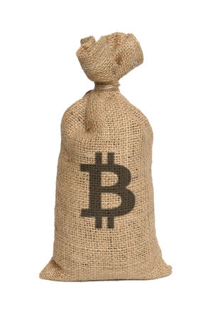 Bag from bitcoin isolated on a white background. Stock Photo