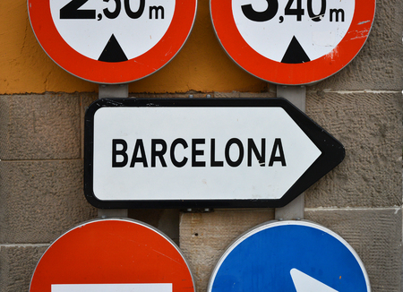 directive: Barcelona, Spain. Road sign directive way. Stock Photo