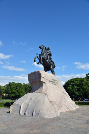 RUSSIA, SAINT- PETERSBURG- JULY 4, 2017: Peter I the Great monument against blue sky.