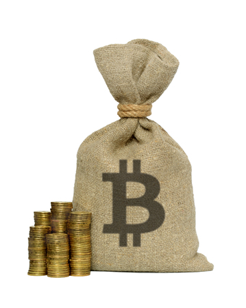 moneybag: Bag from bitcoin isolated on a white background. Stock Photo