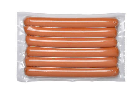 Pack of the sausages isolated on a white background.