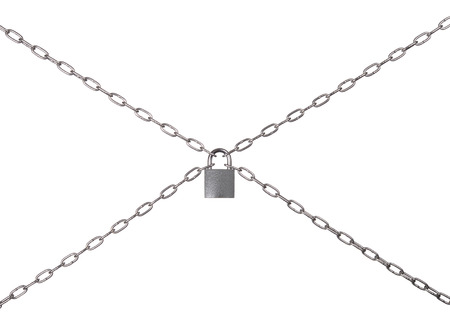 The padlock and chains isolated on a white background.