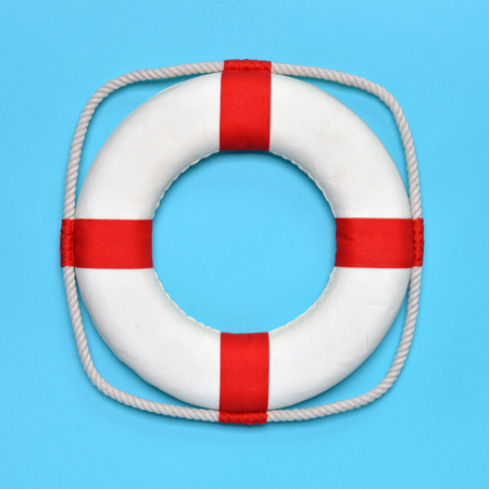 The life buoy on a blue background.