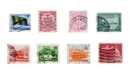 Stamps mail close up on a white background.