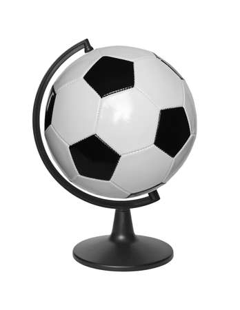 Football ball in Stand for the globe isolated on a white background.