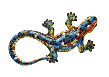 Ceramic multicolored lizard isolated on white background