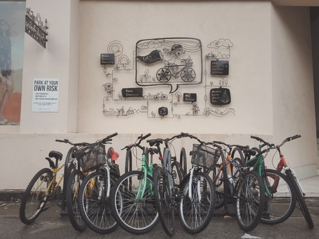 and the area: Bicycle parking area at Queensbay mall, Penang