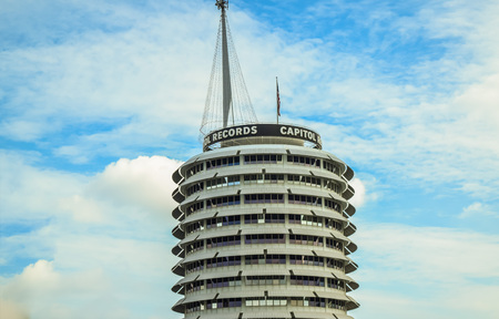 record label: Hollywood Blvd,Los Angeles, California 01.16.2016: Capitol Records is a major US based record label, formerly located in LA. Its former headquarters is a major landmark in LA. Editorial