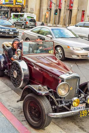Hollywood boulevard: Hollywood Blvd,Los Angeles, California 01.16.2016: Retro car parked in hollywood boulevard street los angeles california Editorial