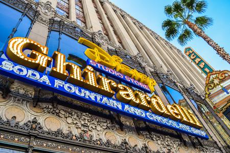blvd: Hollywood Blvd,Los Angeles, California 01.16.2016: Building Facade Ghirardelli Soda Fountain and Chocolate Shop Hollywood Blvd,Los Angeles, California
