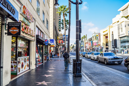 blvd: Hollywood Blvd,Los Angeles, California 01.16.2016: View of Hollywood Boulevard at sunset