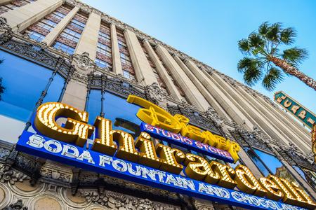 blvd: Hollywood Blvd,Los Angeles, California 01.16.2016: Building Facade Ghirardelli Soda Fountain and Chocolate Shop disney Hollywood Blvd,Los Angeles, Ca