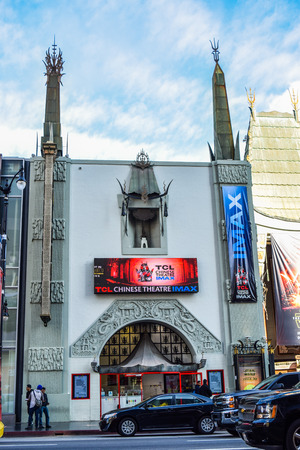 Hollywood boulevard: Los Angeles, CA, USA . January 16, 2016: hollywood boulevard View Graumans Chinese Theater on Hollywood Boulevard. The theater has hosted numerous premieres and events since it opened in 1927. Editorial
