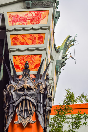 premieres: Los Angeles, CA, USA . January 16, 2016: hollywood boulevard View Graumans Chinese Theater on Hollywood Boulevard. The theater has hosted numerous premieres and events since it opened in 1927. Editorial