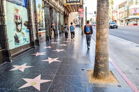 Hollywood boulevard: Hollywood Blvd,Los Angeles, California 01.16.2016: View of Hollywood Boulevard at sunset