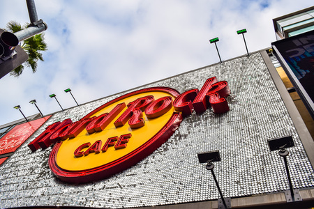 Hollywood boulevard: Los Angeles, CA, USA . January 16, 2016: Hard Rock Cafe Hollywood boulevard Los Angeles. Hard Rock Cafe is an American chain of theme restaurant founded in 1972 Editorial