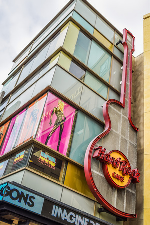 hard rock cafe: Los Angeles, CA, USA . January 16, 2016: Hard Rock Cafe Hollywood boulevard Los Angeles. Hard Rock Cafe is an American chain of theme restaurant founded in 1972 Editorial